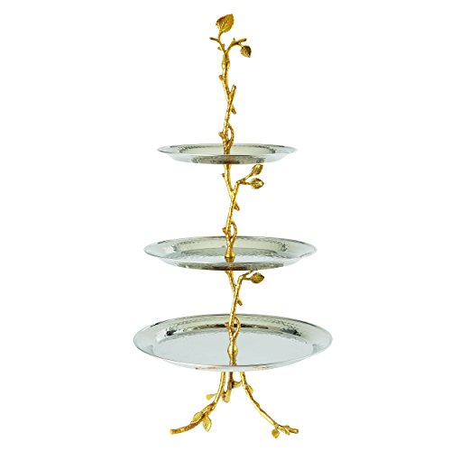 CHIC Golden Vine Hammered 3 Tier Server, Gold - EK CHIC HOME