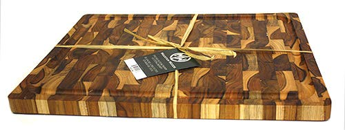 Rectangle End Grain Butcher Block With Juice Groove And Carved handle (15 X 12 X 1.25 in.) - EK CHIC HOME