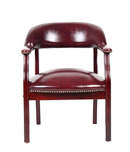 Burgundy Bonded Leather Chair - EK CHIC HOME
