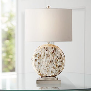 Chic Round Mother of Pearl Table Lamp - EK CHIC HOME