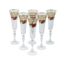 Load image into Gallery viewer, Crystal Champagne Flute, 24K Gold Floral - EK CHIC HOME