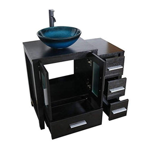 "36"" Black Bathroom Vanity Cabinet and Sink Combo Single Top MDF Wood w/Faucet and Drain - EK CHIC HOME"