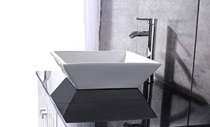 "36"" White Bathroom Vanity Cabinet Single Square Ceramic Vessel Sink Top Faucet Drain with Mirror - EK CHIC HOME"