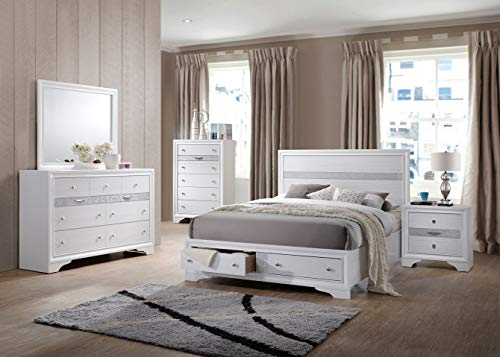 5 Piece Wood Bedroom Sets (White, Queen Size 5 Piece Set) - EK CHIC HOME