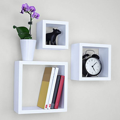 Ballucci Square Cube Floating Wall Shelf, Set of 3, White - EK CHIC HOME