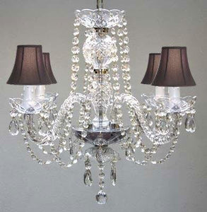 "Swarovski Trimmed All Crystal Chandelier And Black Shades H17"" W17"" - - Amazon.com - EK CHIC HOME"
