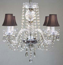 "Load image into Gallery viewer, Swarovski Trimmed All Crystal Chandelier And Black Shades H17"" W17"" - - Amazon.com - EK CHIC HOME"