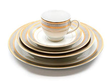 Load image into Gallery viewer, Royalty Porcelain Silver and Gold 49-pc Dinnerware Set 'Damascus', Premium Bone China - EK CHIC HOME