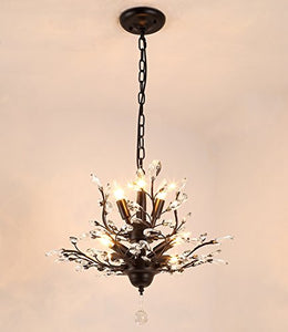 Vintage Crystal Branch Chandeliers Black With 7 Light - EK CHIC HOME