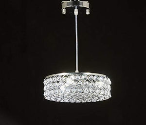 Chrome Finish Metal Shade Crystal Chandelier - EK CHIC HOME