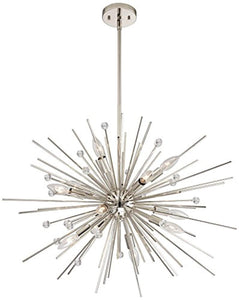 "CHIC Euro Janae 24 1/2""W Polished Nickel Pendant Light - EK CHIC HOME"