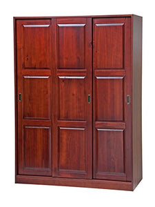 "Solid Wood 3-Sliding Door Wardrobe/Armoire/Closet52""w x 72""h x 22.5""d. 1 Large/4 Small Shelves, 1 Rod Included - EK CHIC HOME"
