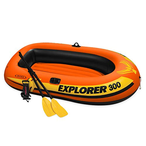 Explorer 300, 3-Person Inflatable Boat Set with French Oars and High Output Air Pump - EK CHIC HOME