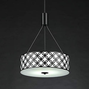 Black Painted Finish,2-Light Drum Shade with Glass Difusser - EK CHIC HOME