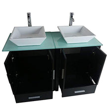 "Load image into Gallery viewer, 48"" Double Sink Bathroom Vanity Combo Glass Top Black Paint Cabinet w/Mirror Faucet and Drain set - EK CHIC HOME"