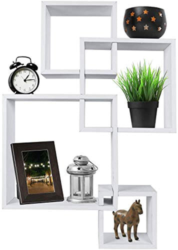 Decorative 4 Cube Intersecting Wall Mounted Floating Shelves- White Finish - EK CHIC HOME