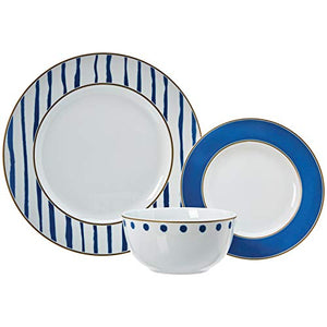 18-Piece Dinnerware Set - Blue Accent, Service for 6 - EK CHIC HOME