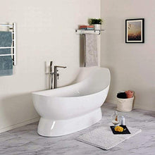 "Load image into Gallery viewer, 67"" Modern Oval A Bathtub Sloped Reclining Pedestal Freestanding White - EK CHIC HOME"