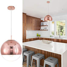 Load image into Gallery viewer, Adjustable Mirror Ball Pendant Light Rose Gold, 12 inches - EK CHIC HOME