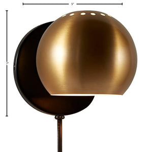 "Gold Metal Plug-In Wall Sconce Light, 7""H, Gold Metal - EK CHIC HOME"
