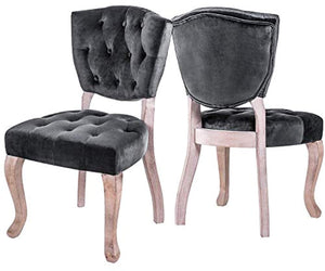 Upholstered Dining Chairs Set of 2 - Parsons Accent Chair with Wood Legs - EK CHIC HOME