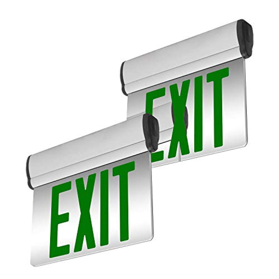 2 Pack - UL Certified - Hardwired Green LED Edge Light Mirrored Singled Sided Exit Sign - EK CHIC HOME