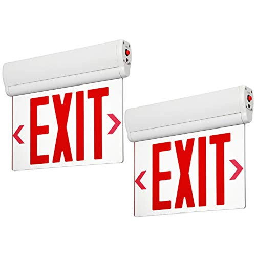 LED Edge Lit Red Exit Sign Single Face with Battery Backup- Pack of 2 - EK CHIC HOME
