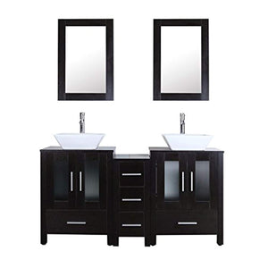 "84"" Double Sink Bathroom Vanity Unit and Sink Combo Black Wood Texture w/ 3 Drawer Cabinets Mirror Faucet and Drain - EK CHIC HOME"