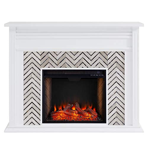 Tiled Fireplace with Alexa-Enabled Smart Firebox, White/Gray - EK CHIC HOME