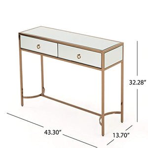 Modern Mirrored Console Table with Finished Stainless Steel Frame in Rose Gold - EK CHIC HOME