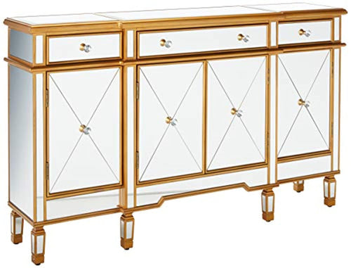 3-Drawers 4-Doors Gold and Mirror Console