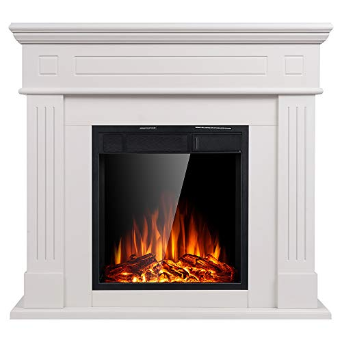 Electric Fireplace Inserts Freestanding Wood Heater Stone Mantel - EK CHIC HOME