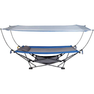 Portable Hammock with Removable Canopy | Includes Pillow and Mesh Storage Net - EK CHIC HOME