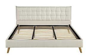 Upholstered Linen Bed Frame, Geometric Tufted Headboard with Low Profile Frame - EK CHIC HOME