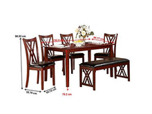 Load image into Gallery viewer, Brooksville 6-Piece Dining Table Set with Bench, Cherry - EK CHIC HOME