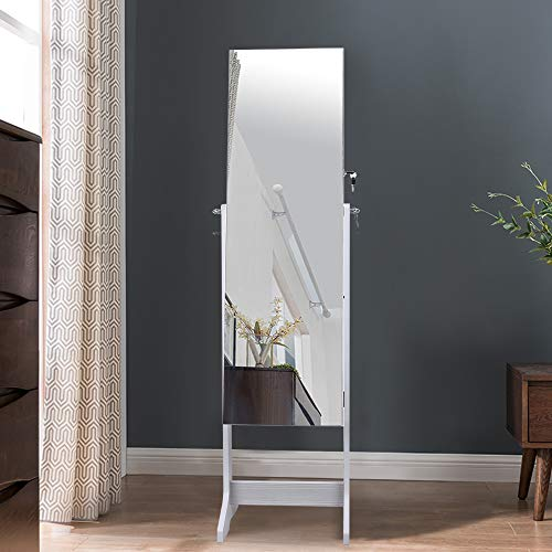 Floor Mirror Rectangle with Jewelry Armoire Organizer - EK CHIC HOME