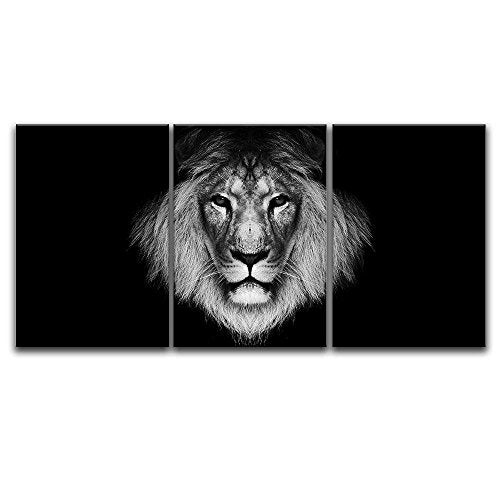 3 Panel Canvas Wall Art - A Lion Head on Black Background - Giclee Print Gallery Wrap Modern Home Decor Ready to Hang - EK CHIC HOME