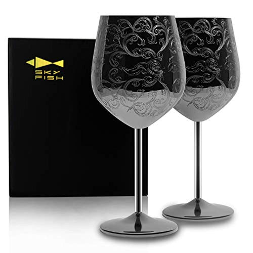 Stainless Steel Wine Glasses Black Plated Set of 2(17oz) - EK CHIC HOME