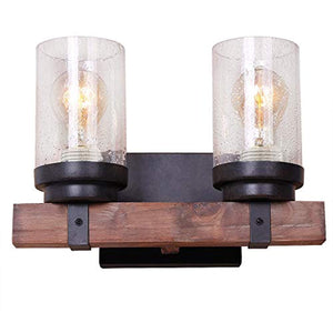 ART DECO Wooden 2 Light Wall Sconce, Brown - EK CHIC HOME