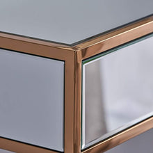 Load image into Gallery viewer, Modern Mirrored Console Table with Finished Stainless Steel Frame in Rose Gold - EK CHIC HOME