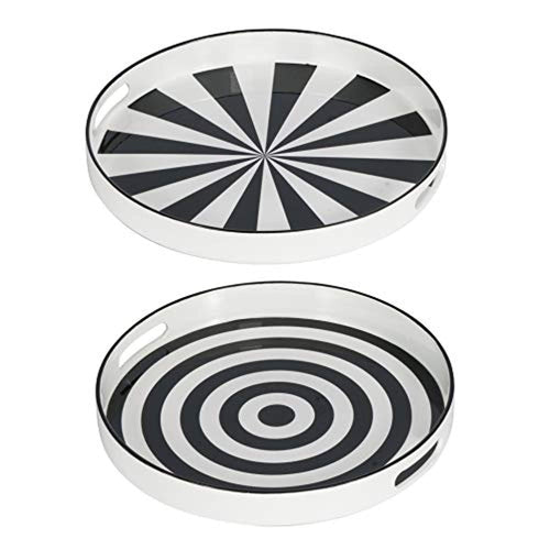 Round Tray, Set of 2, Black, White - EK CHIC HOME