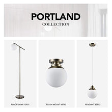 Load image into Gallery viewer, Portland 1 Ceiling Light, Brass Finish, Matte Opal Glass Shade, Semi-Flush Mount, White - EK CHIC HOME