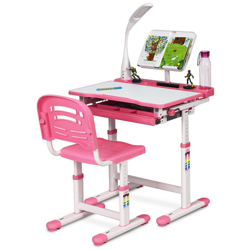 Height Adjustable Kids Desk Chair Set w/Lamp & Bookstand Pink