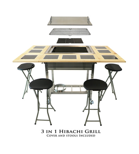 BBQ - Outdoor 3-in-1 Sit Around Grill w/ Flat Top Griddle