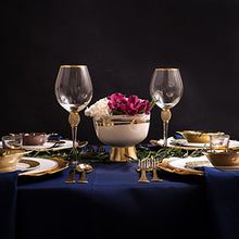 "Load image into Gallery viewer, Set of 2 Wine Glasses - Rhinestone""DIAMOND"" Studded With Gold Rim - Long Stem - EK CHIC HOME"