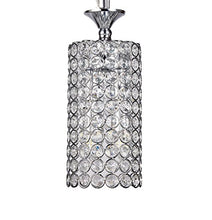 Load image into Gallery viewer, 1-Light Chrome Finish Round Metal Shade Crystal Chandelier [ Pair of 2 ] - EK CHIC HOME
