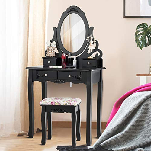 Vanity Dressing Table with Mirror and Stool, 360° Rotating Oval Makeup Mirror - EK CHIC HOME