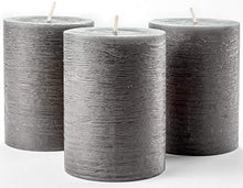 "Load image into Gallery viewer, Set of 3 Charcoal Pillar Candles Dark Grey 3"" x 4"" Gray Rustic Unscented Dripless - EK CHIC HOME"