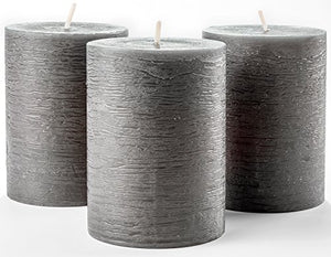 "Set of 3 Charcoal Pillar Candles Dark Grey 3"" x 4"" Gray Rustic Unscented Dripless - EK CHIC HOME"
