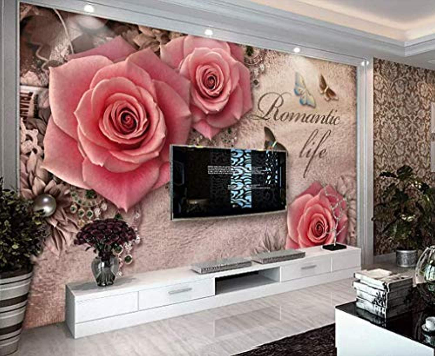 Floral Wallpaper Pink Rose Wall Mural Lux Diamond Wall Art British